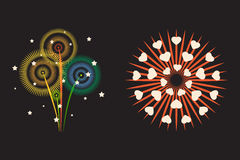 Firework different shapes colorful festive and bright carnival or birthday design for brochures poster, wrapping paper. Greeting card vector illustration Stock Photo
