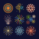 Firework different shapes colorful festive and bright carnival or birthday design for brochures poster, wrapping paper Stock Photo