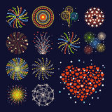 Firework different shapes colorful festive heart bright carnival or birthday design for brochures poster, wrapping paper. Greeting card vector illustration Stock Photography