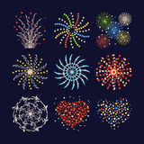 Firework different shapes colorful festive heart bright carnival or birthday design for brochures poster, wrapping paper. Greeting card vector illustration Royalty Free Stock Images