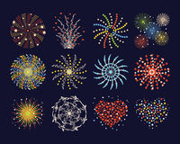 Firework different shapes colorful festive heart bright carnival or birthday design for brochures poster, wrapping paper. Greeting card vector illustration Royalty Free Stock Image