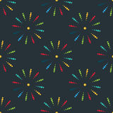 Firework different shapes colorful festive seamless pattern vector. Stock Images