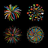 Firework different shapes colorful festive vector. Royalty Free Stock Images