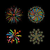 Firework different shapes colorful festive vector. Royalty Free Stock Photo