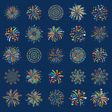 Firework different shapes colorful festive vector. Stock Photos