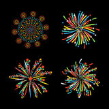 Firework different shapes colorful festive vector. Stock Image