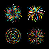 Firework different shapes colorful festive vector. Stock Images