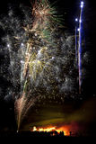 Firework Display on 5th November in England. Bonfire and firework display to celebrate the November the 5th anniversary of the 'Gunpowder Plot' - this was the Stock Photography