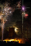 Firework Display - 5th November - England. Bonfire and firework display to celebrate the November the 5th anniversary of the Gunpowder Plot - this was the plot Royalty Free Stock Photos