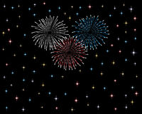 Firework display and celebration. Colorful firework display on new year's or forth of July Stock Image