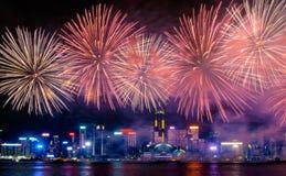 Firework display, Hong Kong 2017. Firework display on Chinese National day at Victoria Harbour, Hong Kong 2017 Royalty Free Stock Photos
