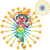 A firework display with a clown. Illustration of a firework display with a clown on a white background Stock Image