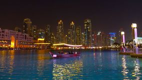 Firework display at Dubai marina at night, UAE 2018 royalty free stock photos