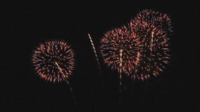 Firework display. A fireworks display to celebrate Father's Day in Thailand stock footage