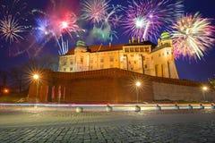 Firework display in Krakow, Poland. Years firework display in Krakow, Poland Stock Photo