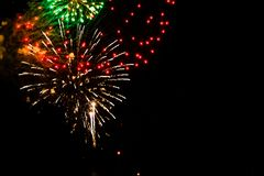 Firework display lighting up the night sky in Grand Rapids Michigan. At night stock photo