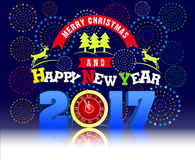 Firework Display for Merry christmas and Happy new year 2017 Stock Photo