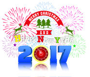 Firework Display for Merry christmas and Happy new year 2017. Vector Royalty Free Stock Image