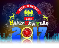 Firework Display for Merry christmas and Happy new year 2017. Vector Stock Photo