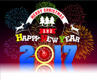 Firework Display for Merry christmas and Happy new year 2017 Royalty Free Stock Images