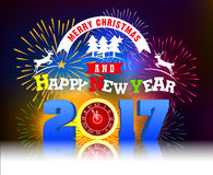 Firework Display for Merry christmas and Happy new year 2017. Vector stock illustration
