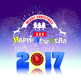 Firework Display for Merry christmas and Happy new year 2017. Vector Royalty Free Stock Images