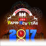 Firework Display for Merry christmas and Happy new year 2017. Vector vector illustration