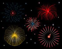 Firework display at night. Colorful firework display at night Royalty Free Stock Photos