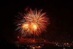 Firework display, bright colours in the night sky Stock Photography