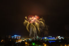 Firework display in the night city, Royalty Free Stock Photos