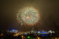 Firework display in the night city, Stock Photos