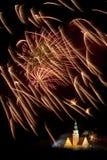 Firework display in Olsztyn. New Year fireworks display over the City Hall in Olsztyn Royalty Free Stock Image