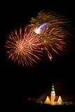 Firework display in Olsztyn. New Year fireworks display over the City Hall in Olsztyn Stock Photography
