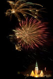Firework display in Olsztyn. New Year fireworks display over the City Hall in Olsztyn Royalty Free Stock Photo