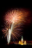 Firework display in Olsztyn. New Year fireworks display over the City Hall in Olsztyn Royalty Free Stock Photography