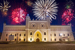 Firework display over the castle in Lublin Royalty Free Stock Photos