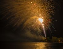 Firework Display or Show during Victoria Day in Ashbridge's Bay, Toronto Royalty Free Stock Photo