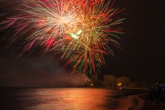 Firework Display or Show during Victoria Day in Ashbridge's Bay, Toronto Stock Photo