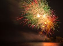 Firework Display or Show during Victoria Day in Ashbridge's Bay, Toronto Royalty Free Stock Images