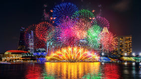 Firework display in Singapore. Landscape of Singapore Stock Photo