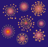Firework display. Vector illustration. Bright and colorful fireworks display. Colors and positions of fireworks can be changed Royalty Free Stock Photo