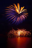 Firework display from the water. Firework fantasy on the high sea near bournemouth pier royalty free stock image