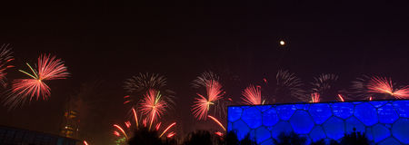 Firework displayed at China National Swimming Center during APEC. Firework displayed at China National Swimming Centre (Water Cube) in Beijing, China, during the Royalty Free Stock Photo