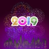 Firework displayed for Happy New year 2019 and holidays concept.  Stock Photography