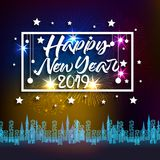 Firework displayed for Happy New year 2019 and holidays concept.  Royalty Free Stock Image