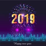 Firework displayed for Happy New year 2019 and holidays concept.  Royalty Free Stock Photo