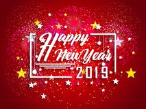 Firework displayed for Happy New year 2019 and holidays concept.  Royalty Free Stock Photos