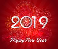 Firework displayed for Happy New year 2019 and holidays concept.  Stock Image
