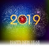 Firework displayed for Happy New year 2019 and holidays concept.  Stock Photo