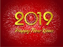 Firework displayed for Happy New year 2019 and holidays concept.  Royalty Free Stock Images